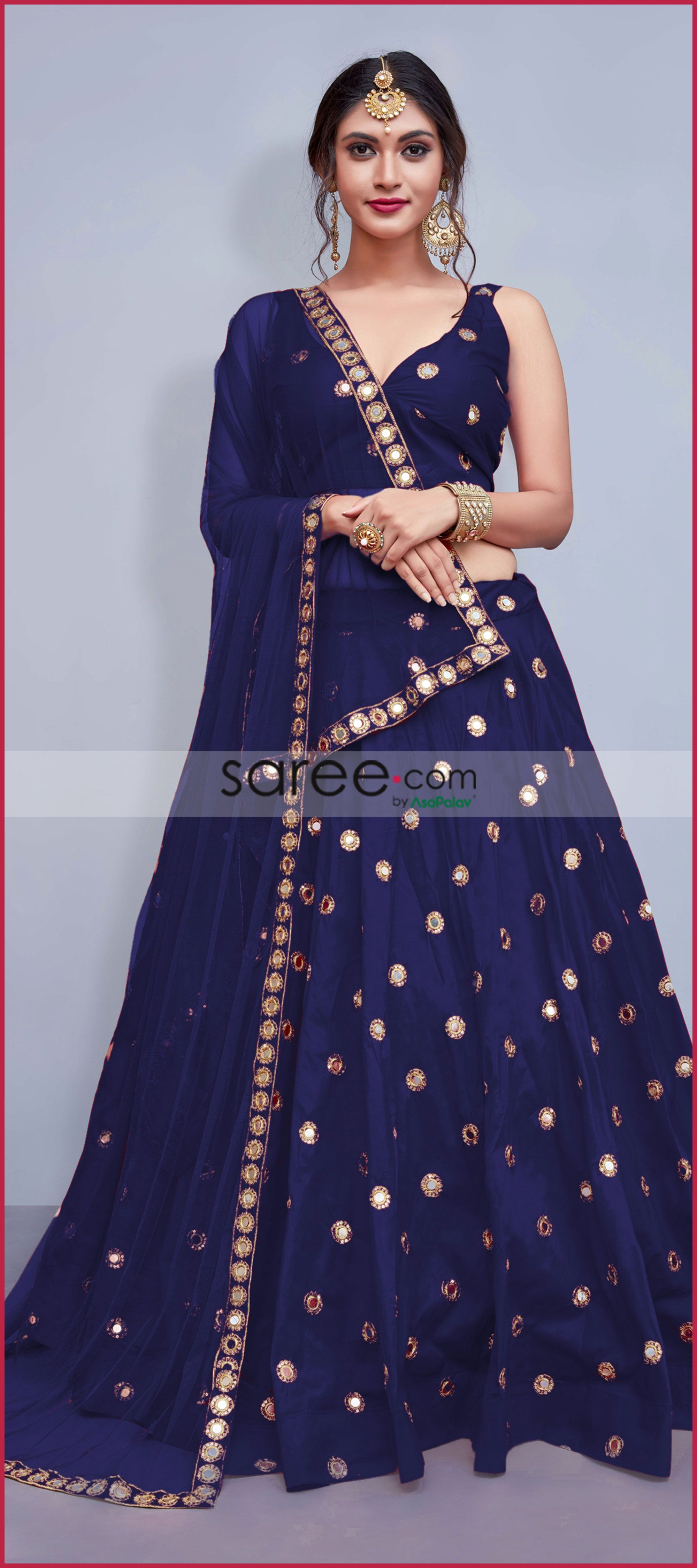 57b271fc22c Navy Blue Taffeta Silk Designer Lehenga Choli With Mirror Work ...