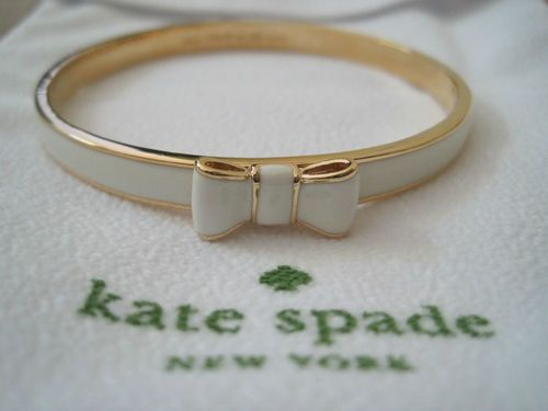 New Kate Spade Take A Bow Bangle Cream Gold 58