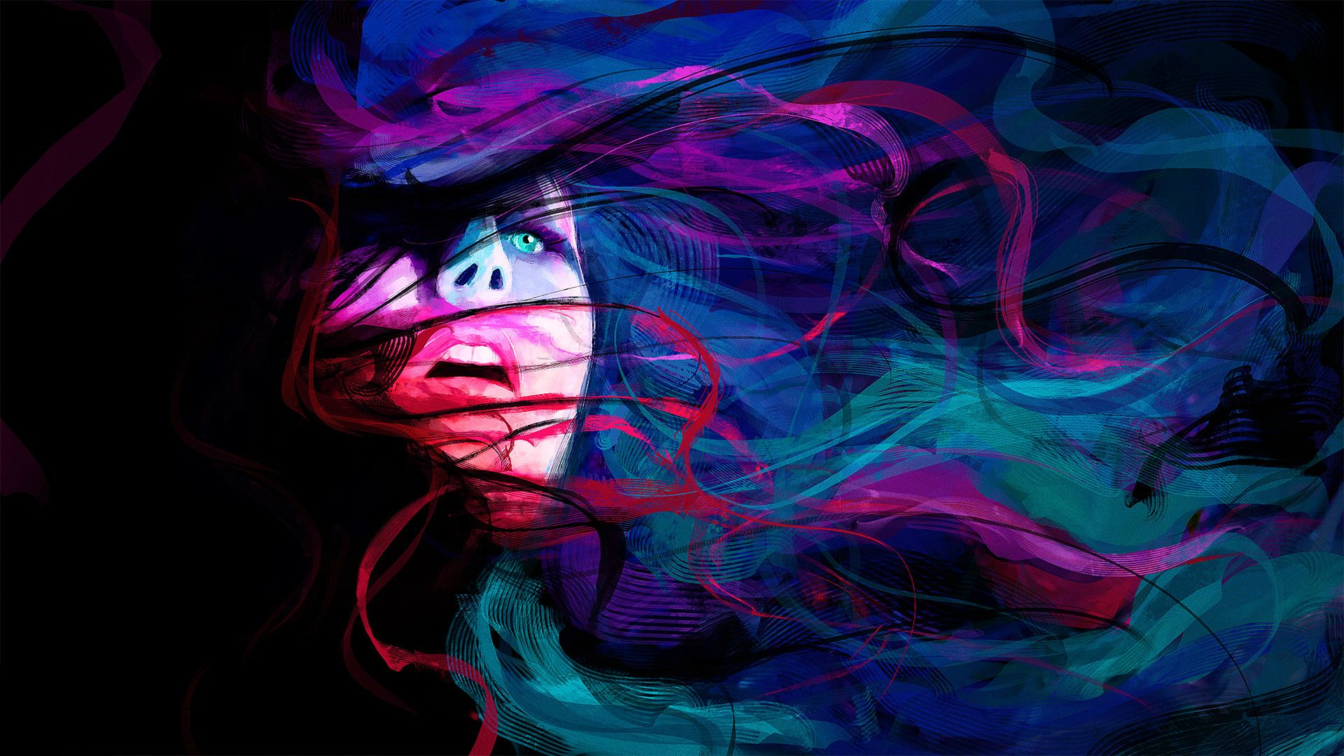 Woman Faces Abstract Color Abstract Girl Face Eyes Lines