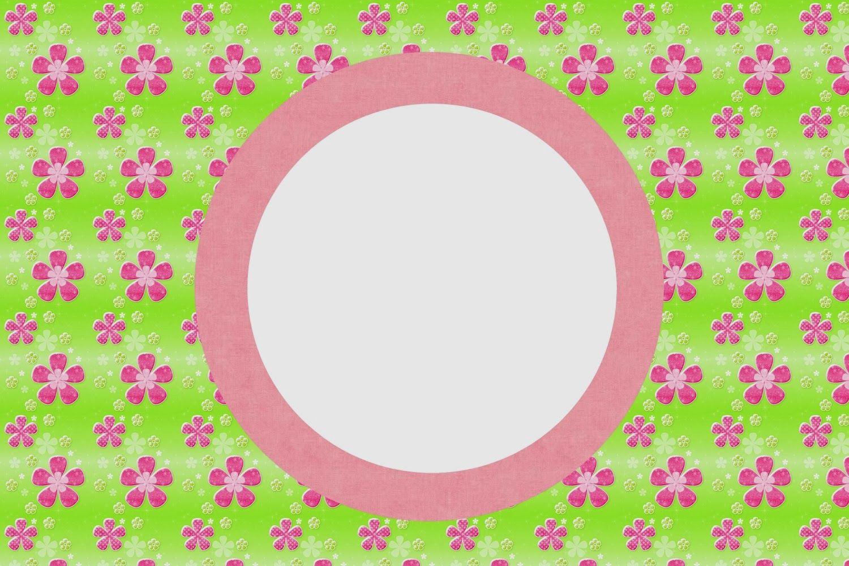 Flores Rosa En Fondo Verde: Tarjetas O Invitaciones Para