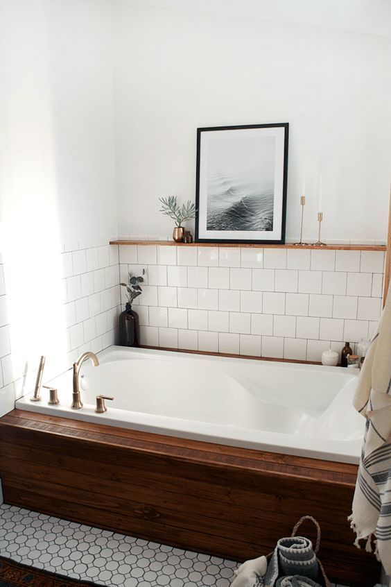 Modern Vintage Bathroom: Love The Little Shelf Built In Above The Tile And  The Porcelain Wood Tile Wrapping The Bathtub