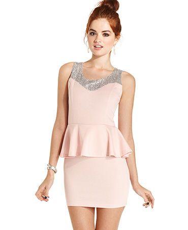 Sleeveless Sequin Peplum Light Pink Dress