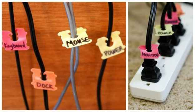 Cord Labels- I've been meaning to do this for a while    50 Clever DIY Ways To Organize Your Entire Life