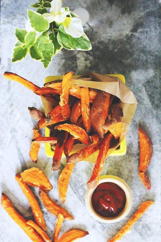 #oilfree #vegan baked sweet potato fries