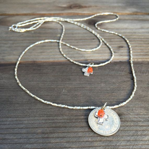 Long Double Stranded Silver Necklace with Mexican Coin and Cross Pentant with Carnelian. 36 inches long