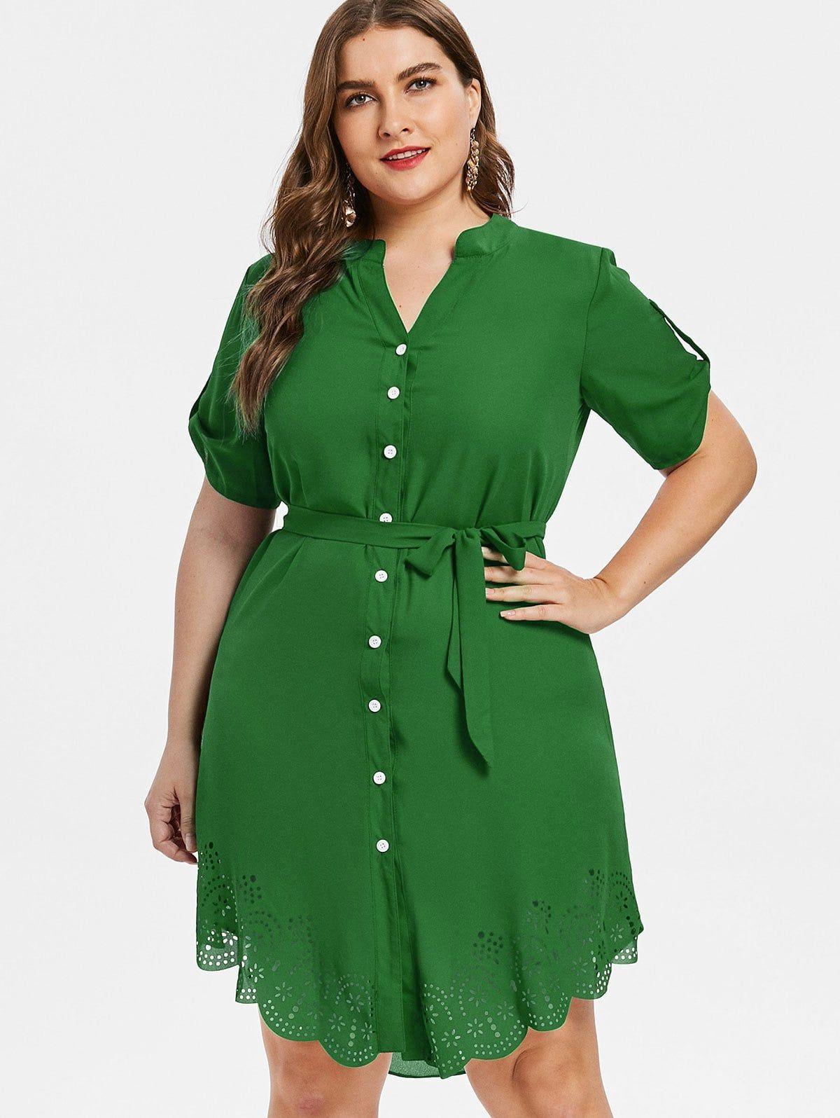 Plus Size Asymmetrical Shirt Dress - DEEP GREEN 4X | Clothes and ...