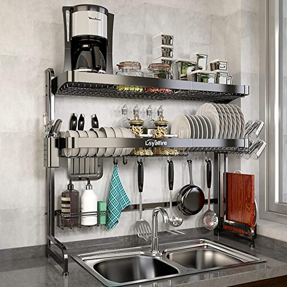 3 Tier Stainless Steel Dish Drying Rack Over Sink Kitchen Cutlery Drainer Holder