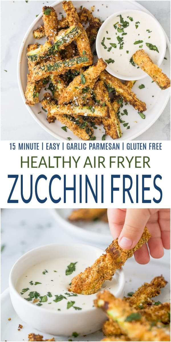 Crispy Garlic Parmesan Air Fryer Zucchini Fries ready in just 15 minutes. These healthy zucchini fries or zucchini chips are loaded with flavor and make the perfect crunchy side or snack!
