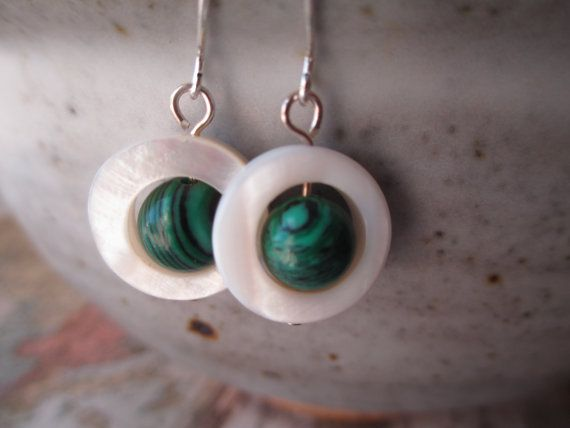 Mother of Pearl Earrings White Earrings by MillyLillyDesigns