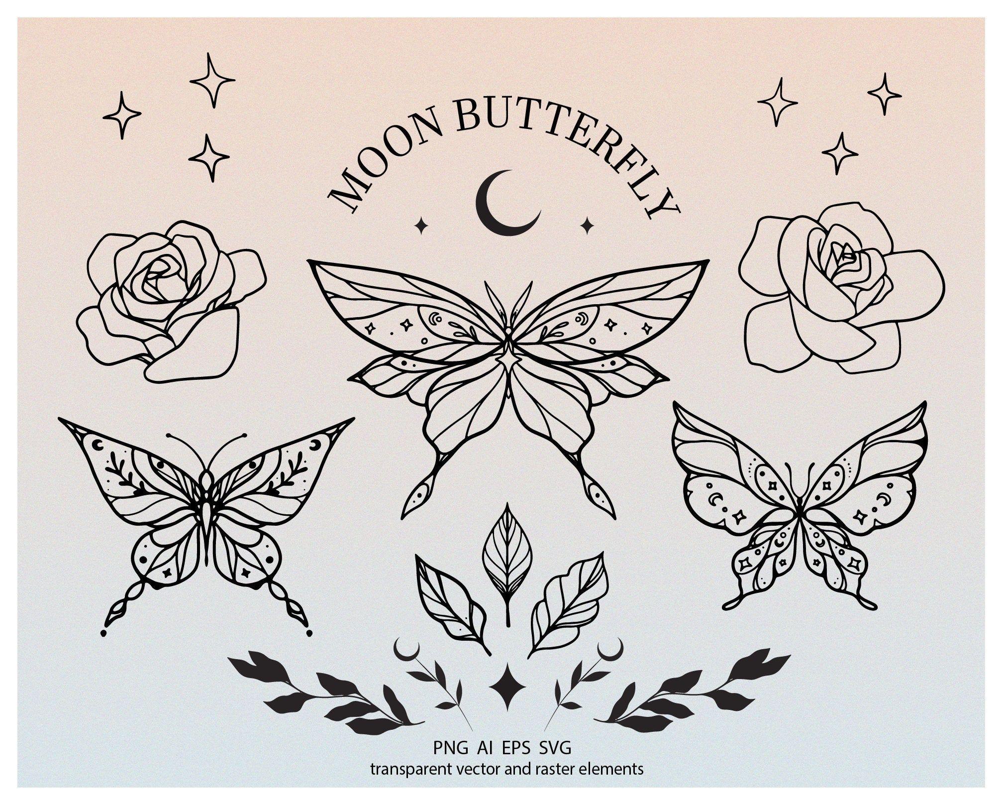 Moon boho butterfly logo elements set, transparent png, moth clipart, mystery halloween