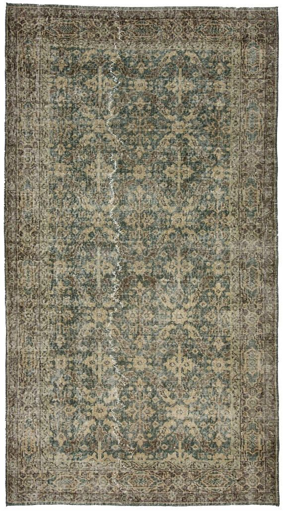Vintage One Of A Kind Turkish Wool Area Rug Oversize Hand Made Oriental Distressed F
