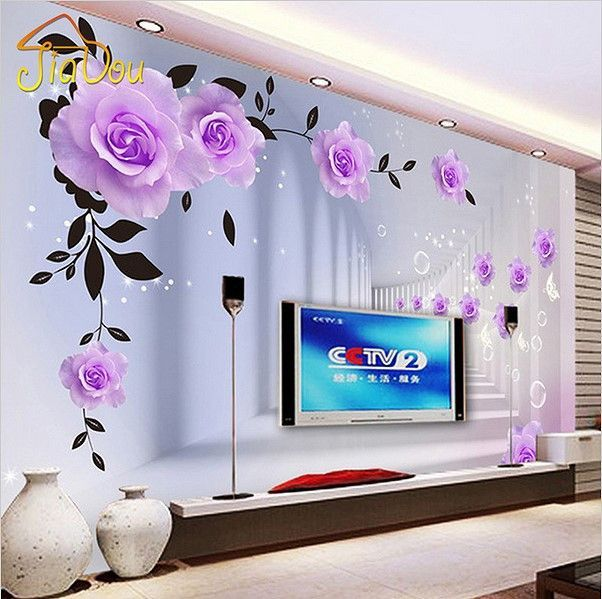 3d Purple Roses Modern Wallpaper Optical Illusion Wall Mural Wall Paint Designs Wall Wallpaper