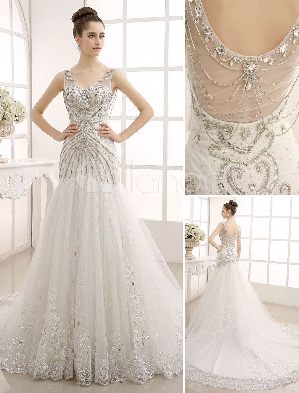 Vneck backless mermaid wedding gown with netting love song