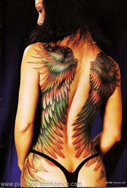 Tatouage Ailes Multicolores Sur Le Dos Tattoo Du Dos Pardi