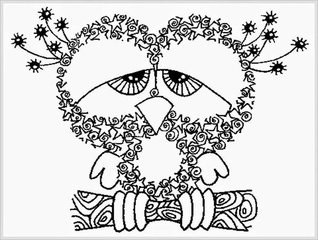 Printable drawing pages for adults - Owl Coloring Pages For Adults 03