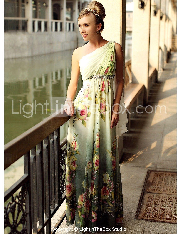Print one shoulder floorlength chiffon evening dress us
