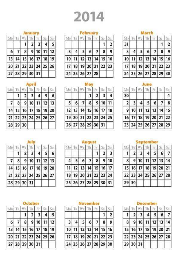 2014 Calendar Printable Free Free 2014 Calendar Template