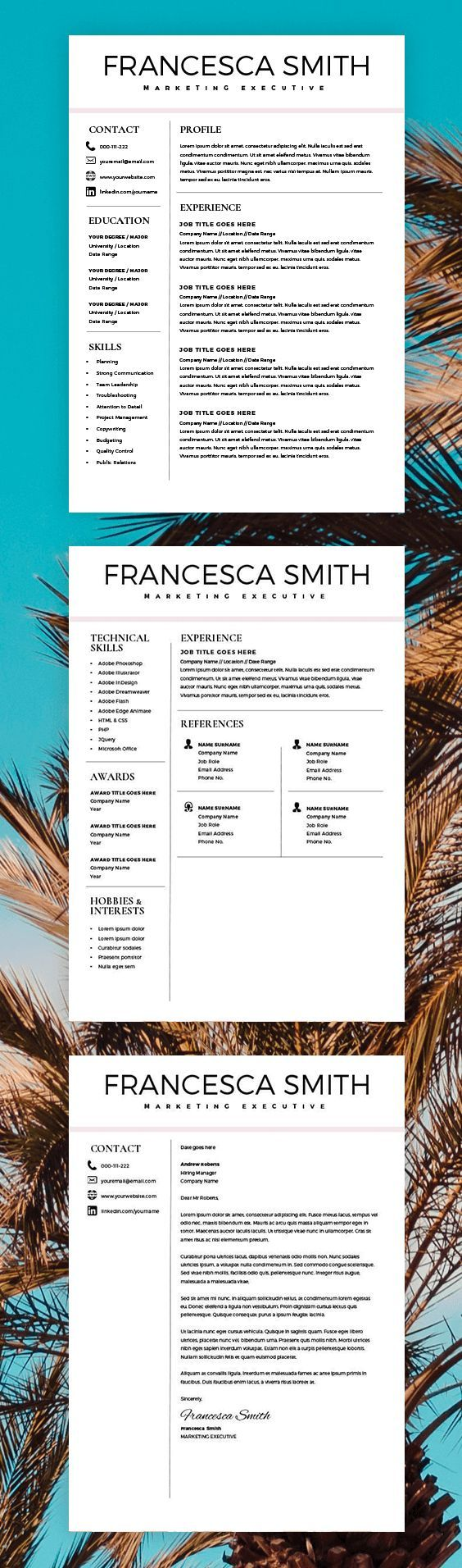 Feminine Resume - CV design - Resume Download - MS Word Resume for ...