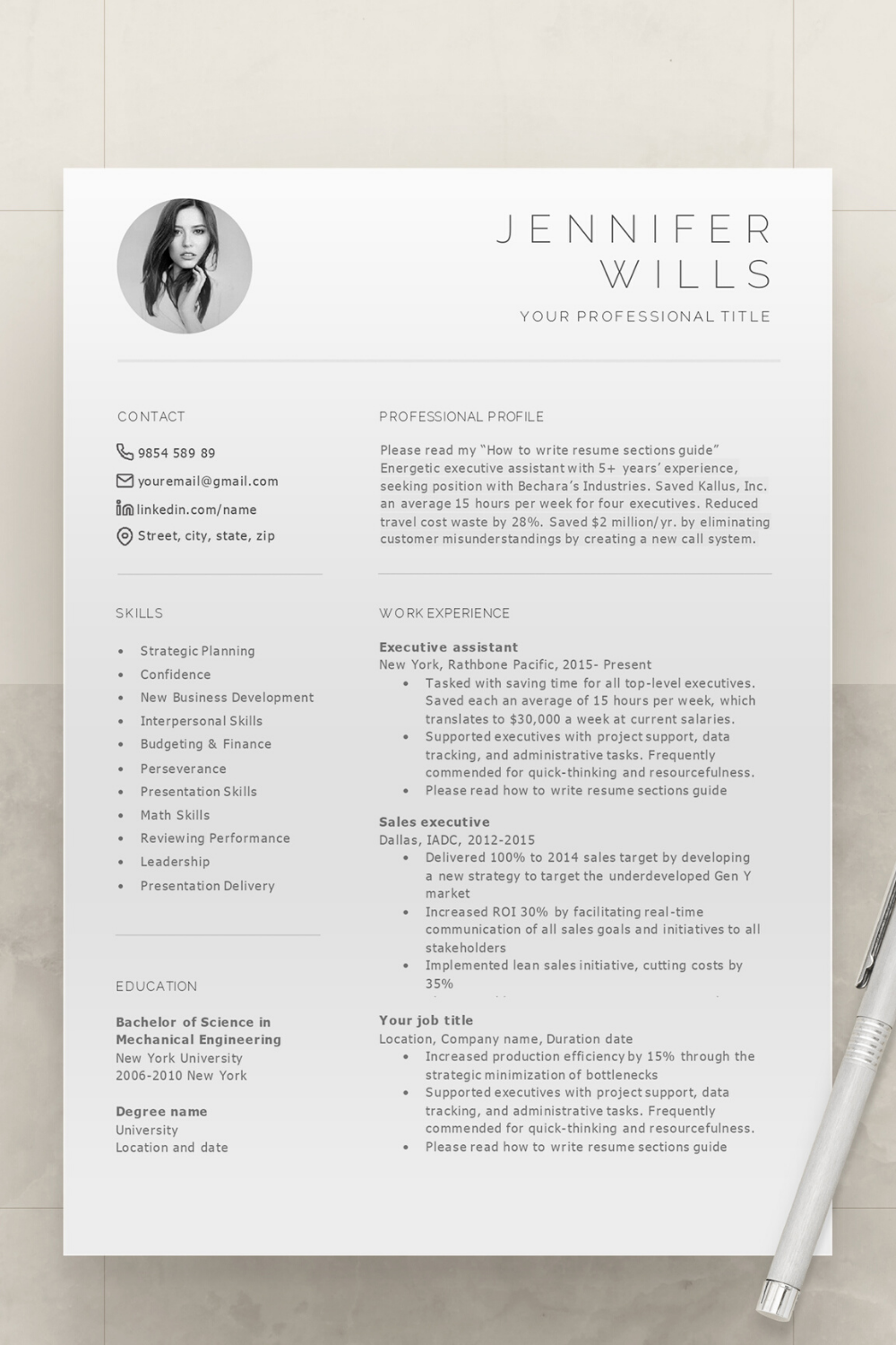 Pin auf Resume Templates Professional
