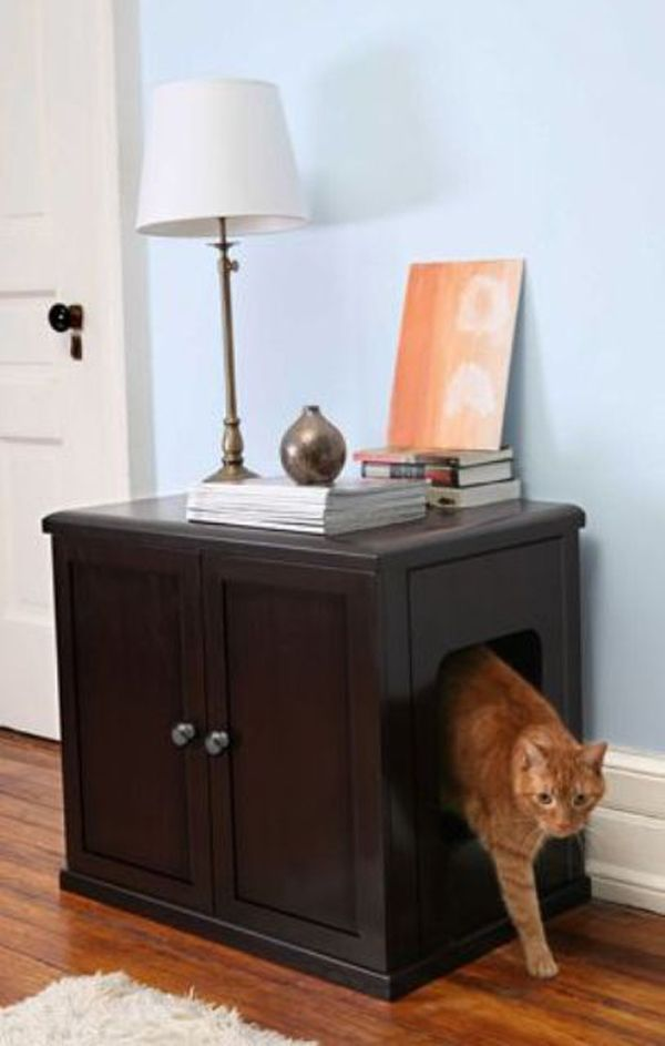 Awesome Teak Cabinet as Cat Litter Box Furniture with Side Entry Hole under Classic Table Lamp