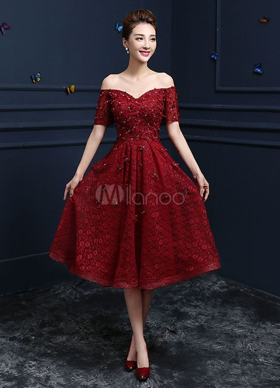 70f89caa105 Lace Cocktail Dress Burgundy Flower Beading Prom Dress Off The Shoulder  Sweetheart Short Sleeve A Line Knee Length Party Dress