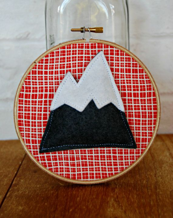 3D Mountain mini embroidery hoop art 4 inch by littlebitdesignshop