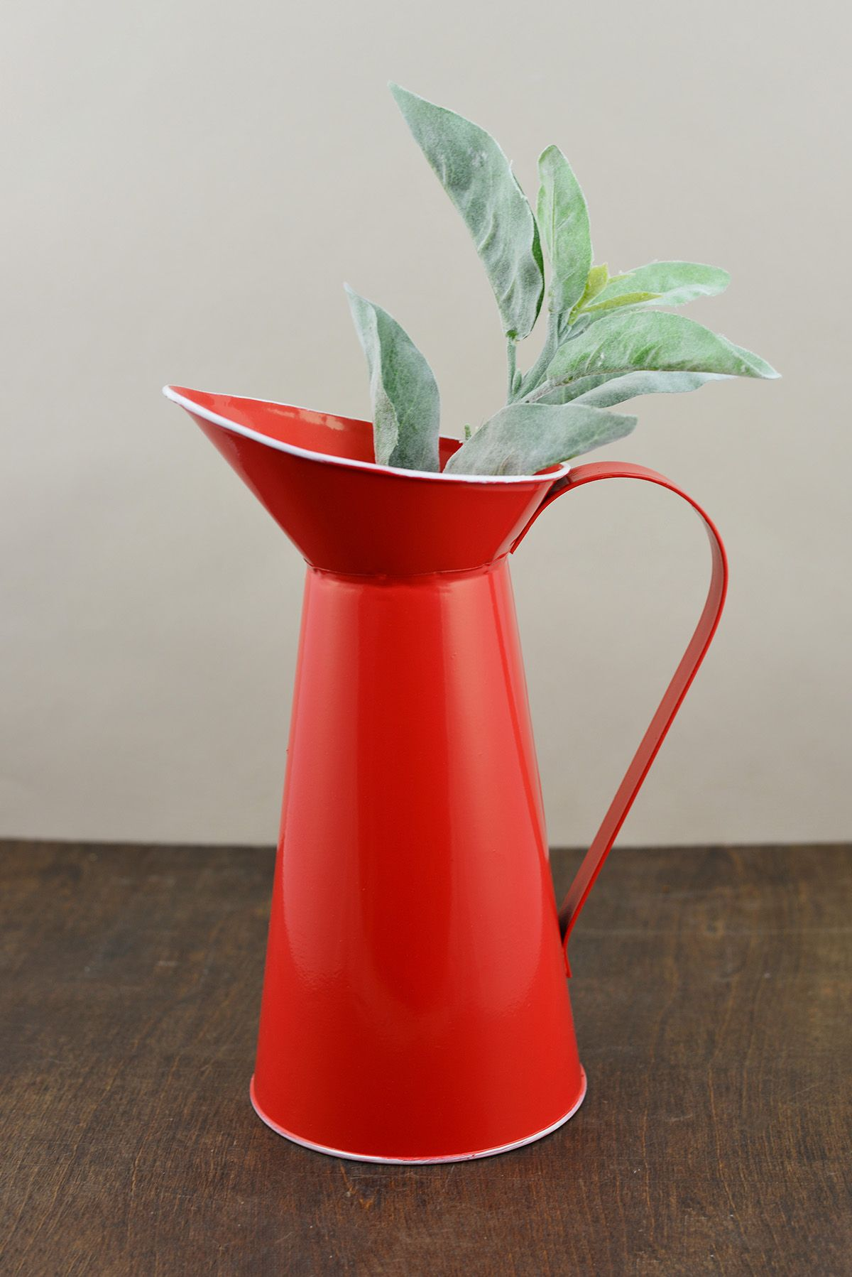 Red tin pitcher Save on crafts, Crafts, Pitcher