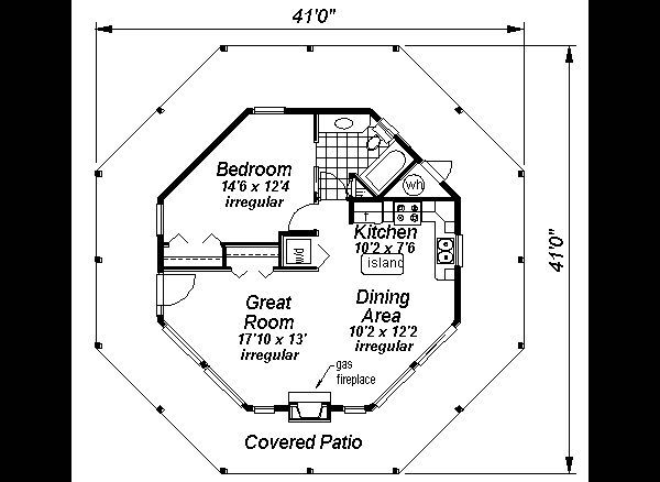 Contemporary Style House Plan 1 Beds 1 Baths 695 Sq Ft Plan 18 1051 Octagon House Round House Plans Ranch House Plans
