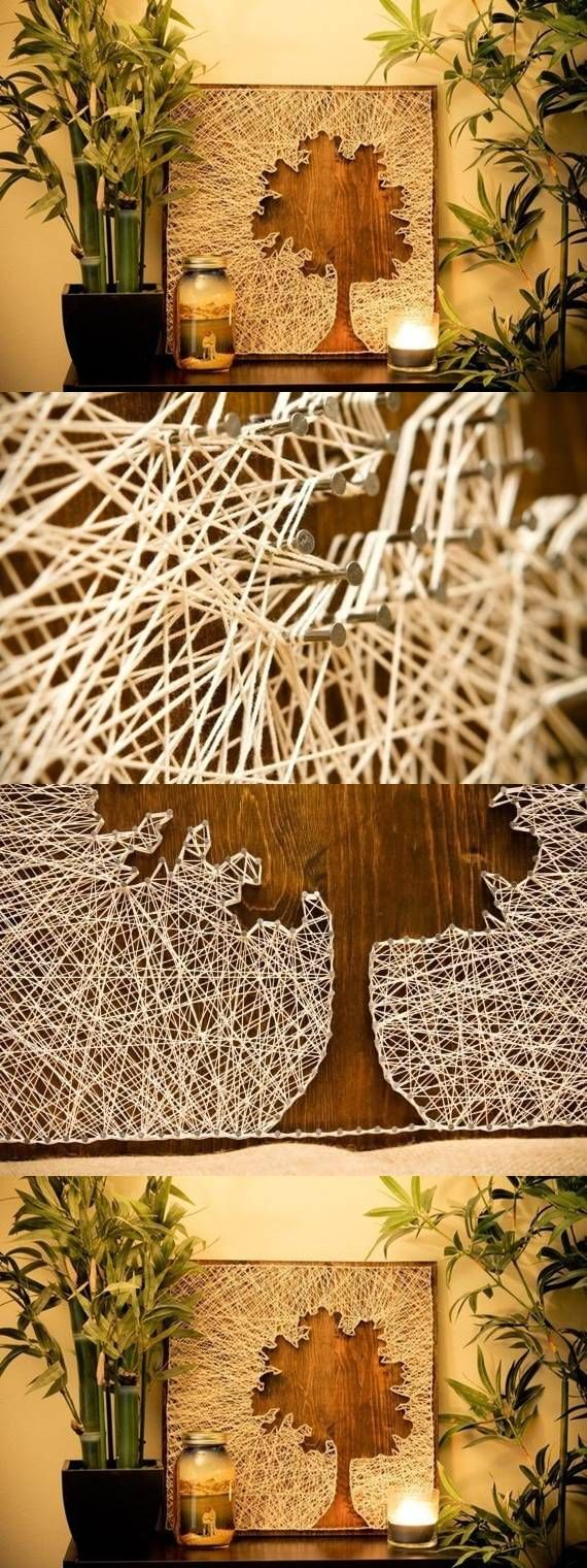 Yarn art color garden - Diy Thread And Nails Panel Tree String Art Silhouette