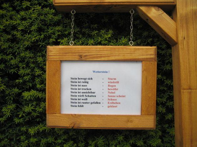 Gartendekoration Wetterstein Wetterstation Holz Stein Hauseinwei
