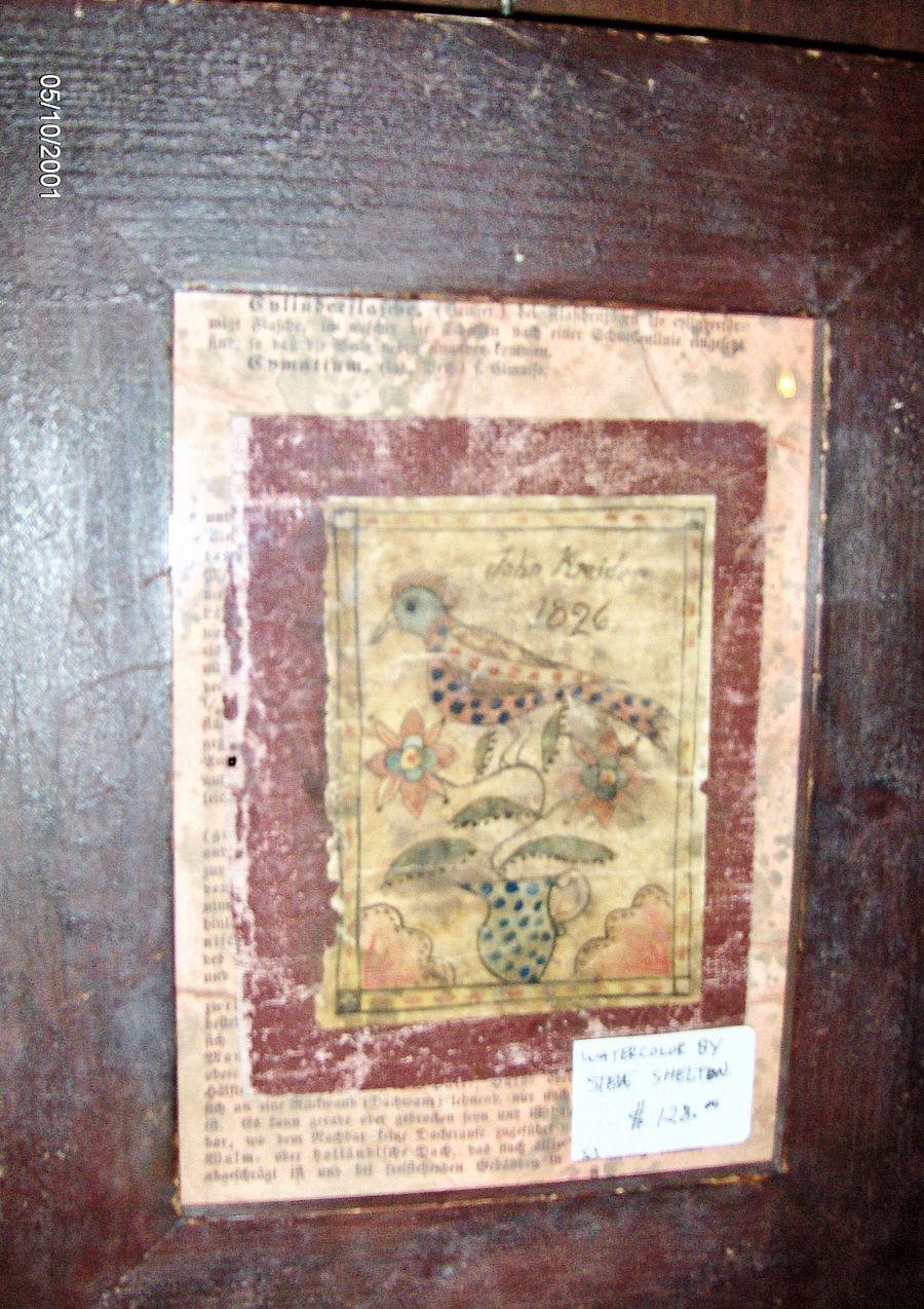 Book Cover Watercolor Art : Framed book cover of a fraktur bird by steve shelton