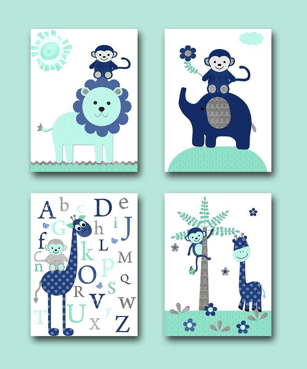 Blue Gray Elephant Giraffe Alphabet Canvas Print Children