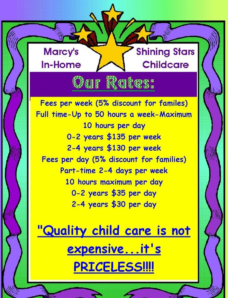 Nice At Home Daycare  At Home Day Care Prices   Daycare