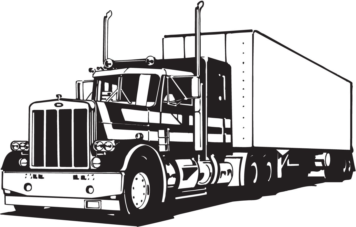 Truck Lineart Vectorfree Download Free Vector Cdr Eps Ai Truck Coloring Pages Semi Trucks Truck Design