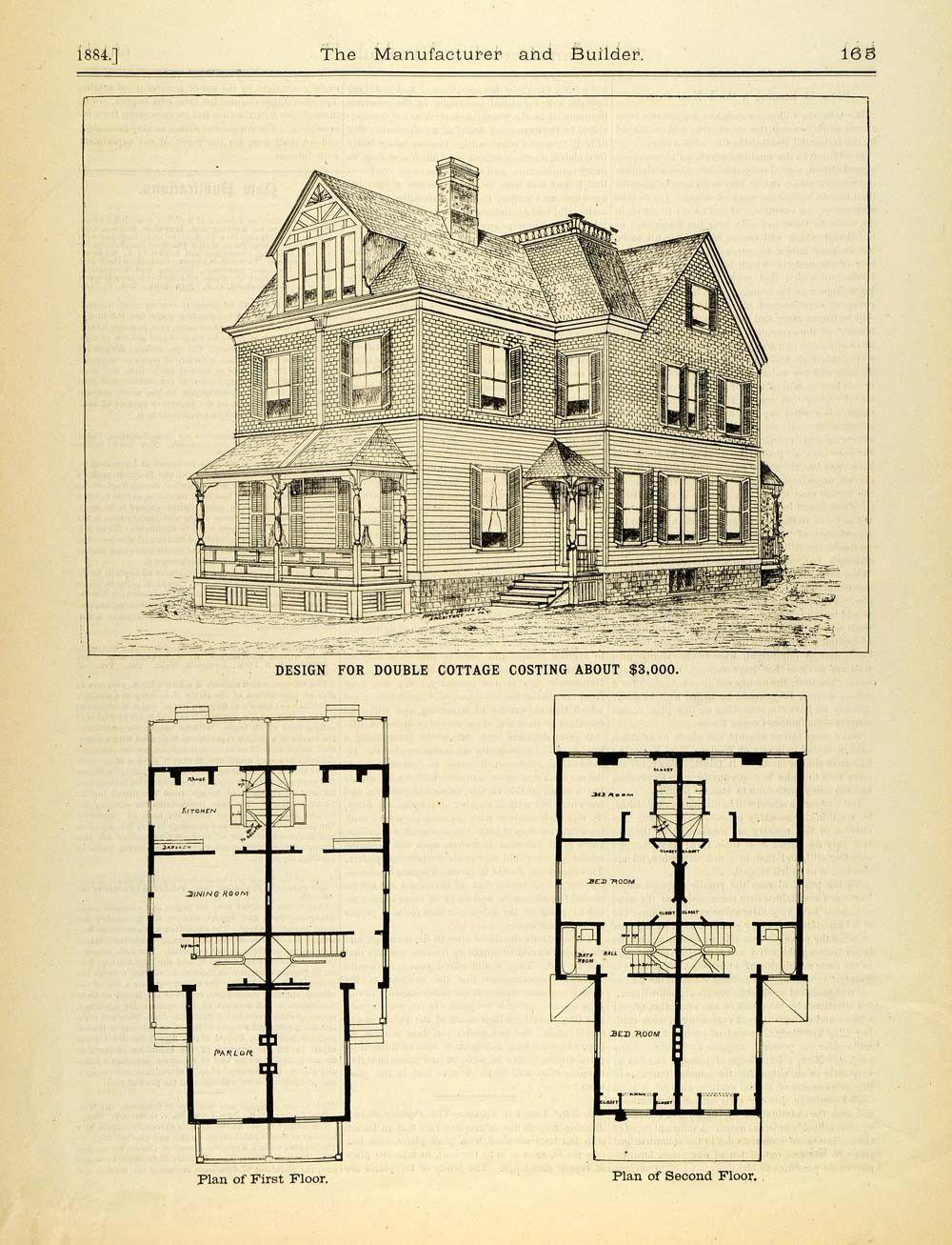 1884 Print Victorian Duplex House Architectural Design Augustus Howe M Architecture Architecture Design Architectural Sketch