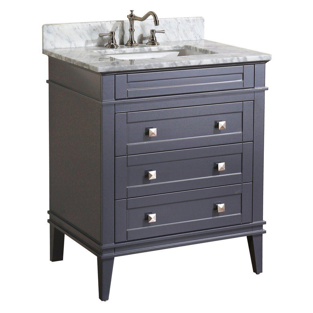 850 Eleanor 30 Inch Vanity Carrara Charcoal Gray Small