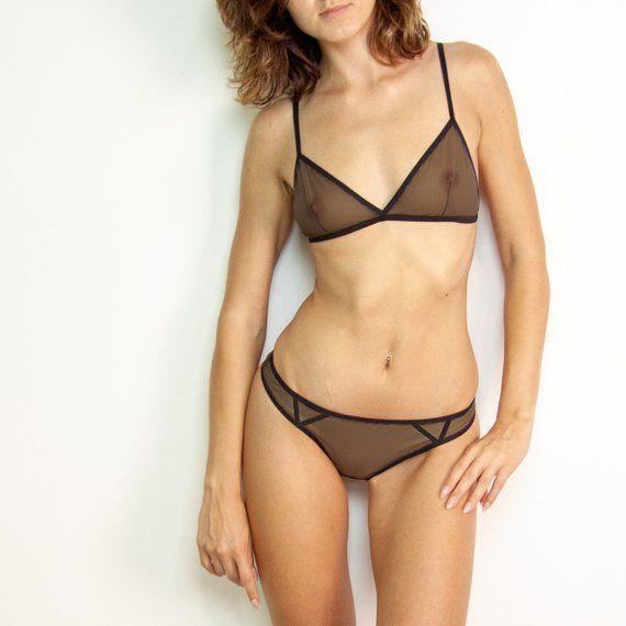 97e49bdfd8c Designer lingerie Hot underwear Tulle lingerie Sheer bra   thong Gift  girlfriend Mesh bra Naughty pa