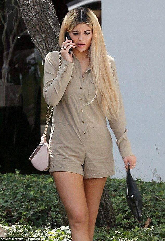 Kylie Jenner Rocks Beige Romper As She Shows Off New Ashy Dirty Do