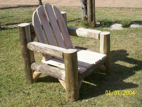 Juego de sillones r sticos fabricado en eucalipto grandis for Sillones rusticos de madera