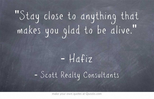 Stay close to anything that makes you glad to be alive. - Hafiz