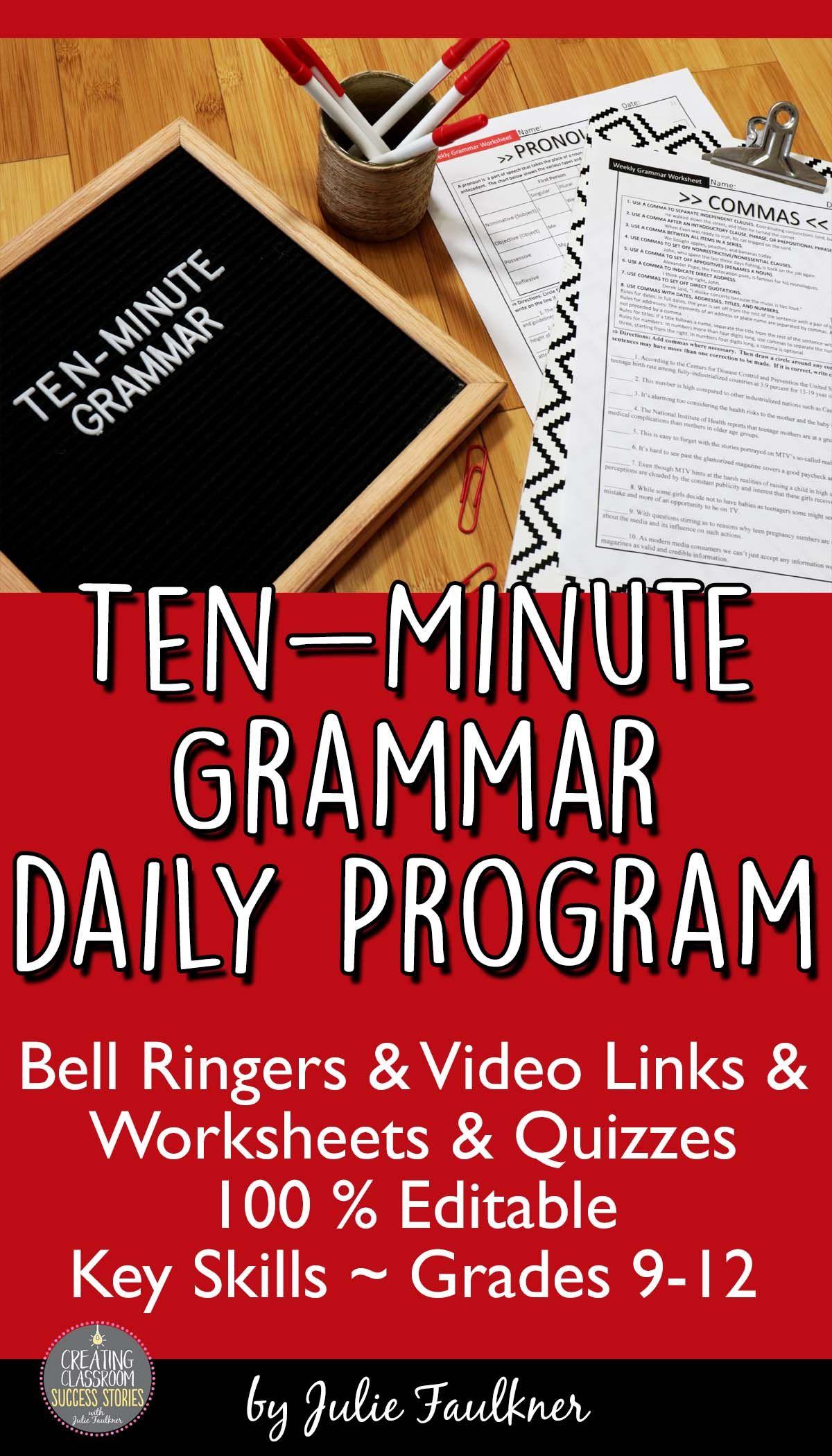 Ten Minute Grammar Daily Grammar Program High School Bell Ringers Video Links Worksheets Grammar Practice English Teacher High School Teaching High School [ 2100 x 1200 Pixel ]