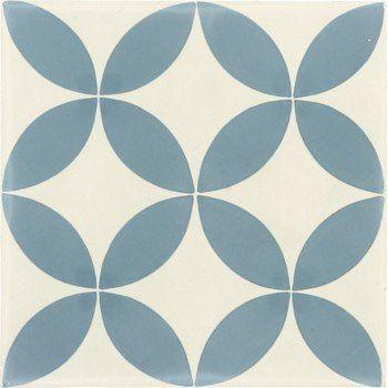 Carreau De Ciment Sol Et Mur Bleu Et Blanc Palmette L 20 X L 20 Cm Carreau De Ciment Carreaux De Ciment Salle De Bain Carrelages Geometriques