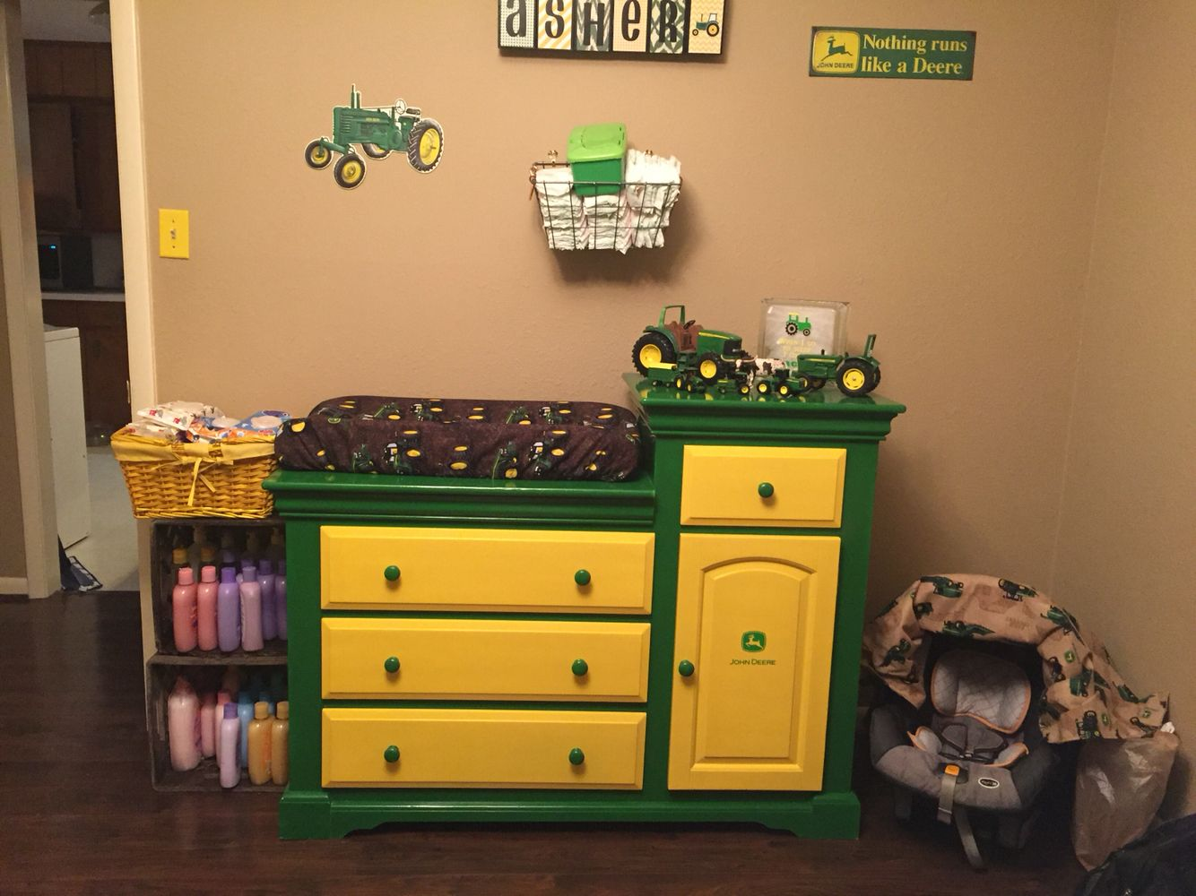 homemade john deere dresser with working lights :) | new closet