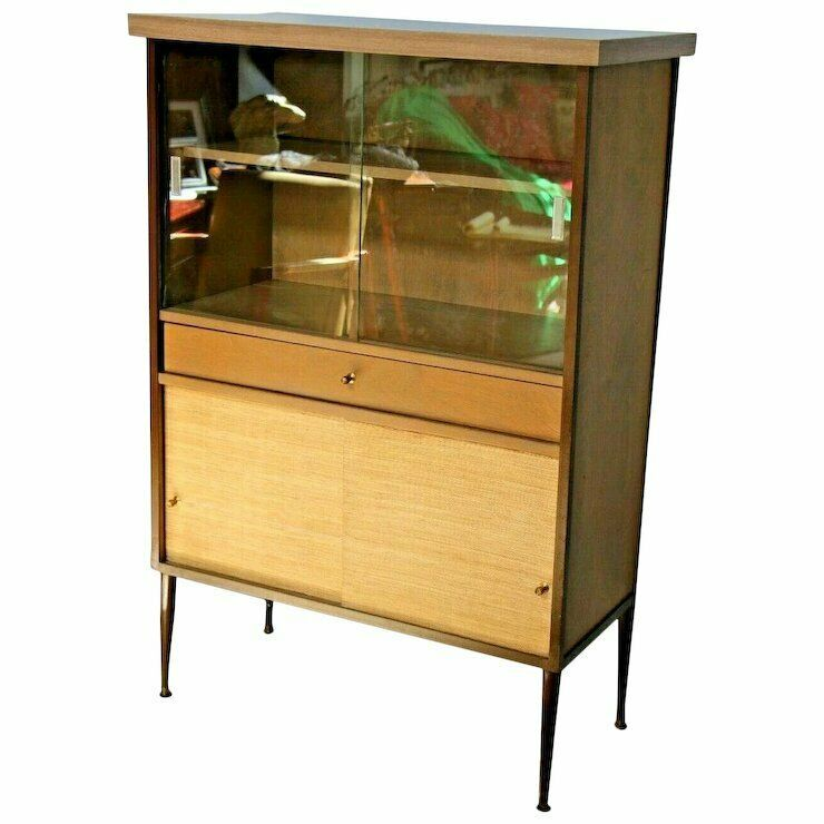 Mid Century Bookcase With Drawer And Bottom Cabinet Shelf Glass