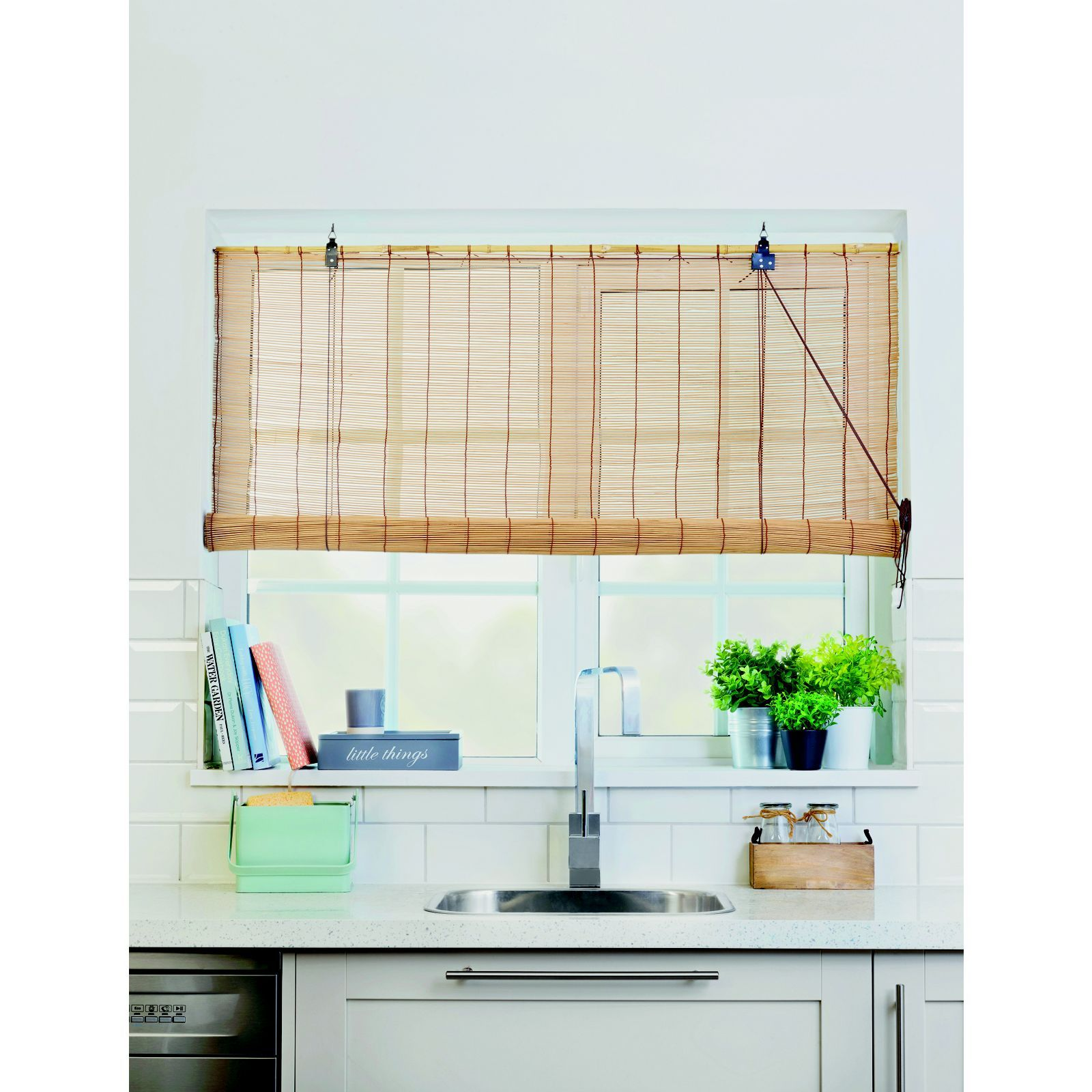 Brown Bamboo Roll Up Blind 90cm