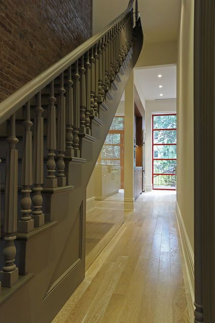 painted gray stairs JE. With barnwood finish ...