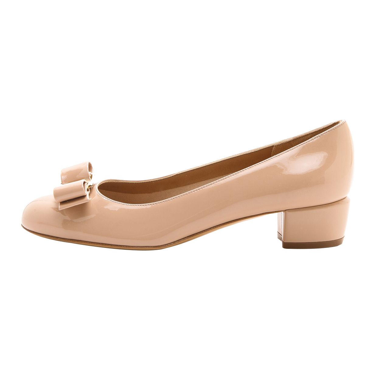Patent Leather Women Ladies Pumps Block Heel Round Toe Bowtie Comfort Work Shoes
