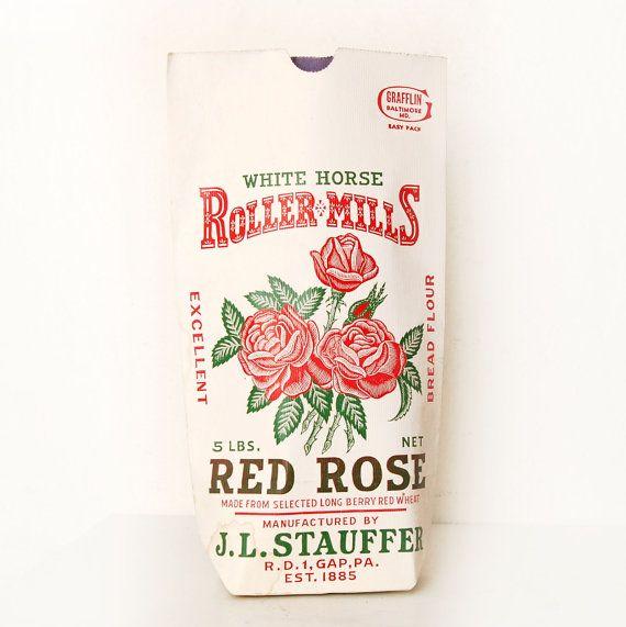 Vintage Red Rose Flour Bag 5lb New Old Stock by VintageLancaster, $5.00