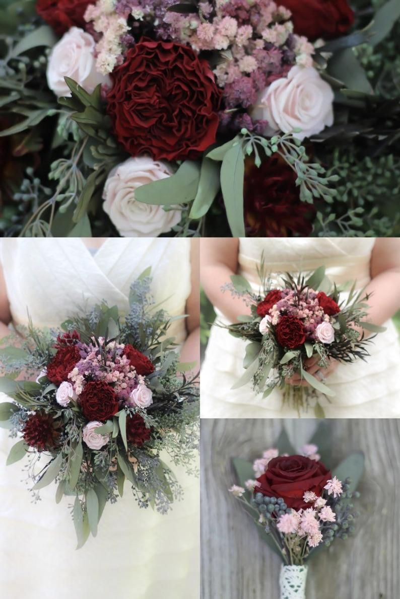 Burgundy and blush pink bridal bouquet bridesmaid bouquet