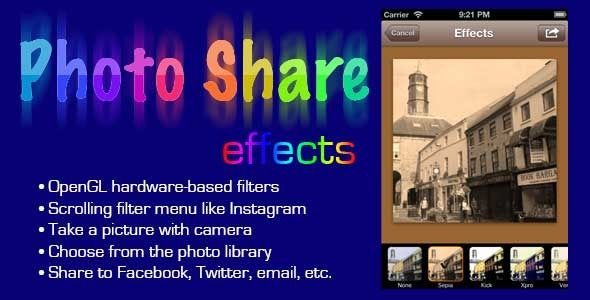 PhotoShare FX . Photo Share FX is an iPhone component and demo app. Photo Share FX uses the GPUImage framework to take full effect of OpenGL ES 2.0 for fast hardware-based image manipulation.